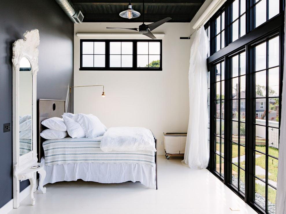 Fantastic-Simple-Black-And-White-Designs-Ideas-in-Bedroom-Industrial-design-ideas-with-accent-wall-black-trim-black-wall-ceiling